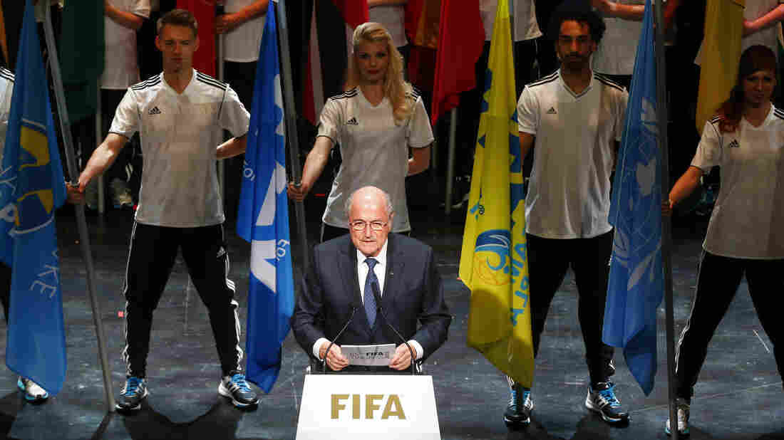 FIFA President Sepp Blatter addresses the audience at the opening ceremony of the 65th FIFA Congress in Zurich on Thursday. The leader of soccer's governing body has rejected calls to resign.