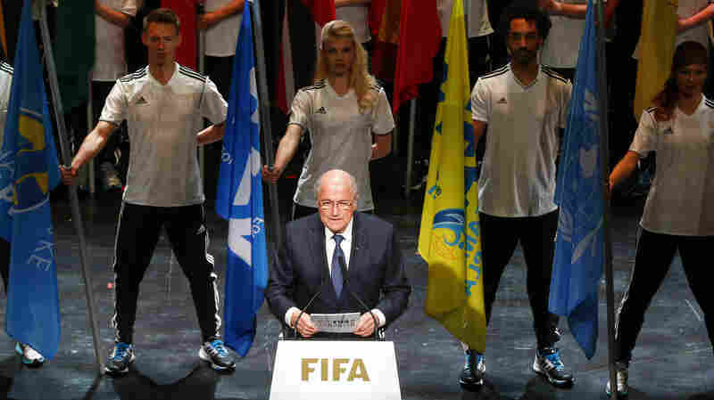 FIFA President Sepp Blatter addresses the audience at the opening ceremony of the 65th FIFA Congress in Zurich Thursday. The leader of soccer's governing body has rejected calls for him to resign.