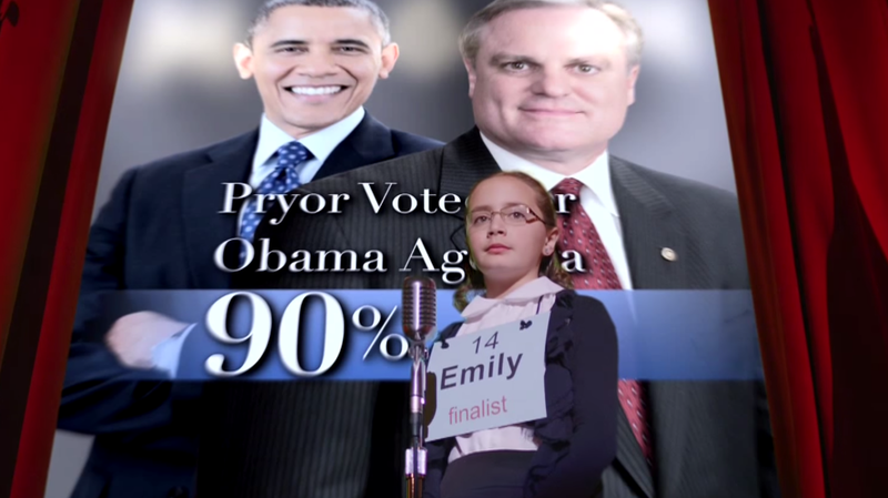 In a 2014 ad, a young speller links Mark Pryor with President Obama.