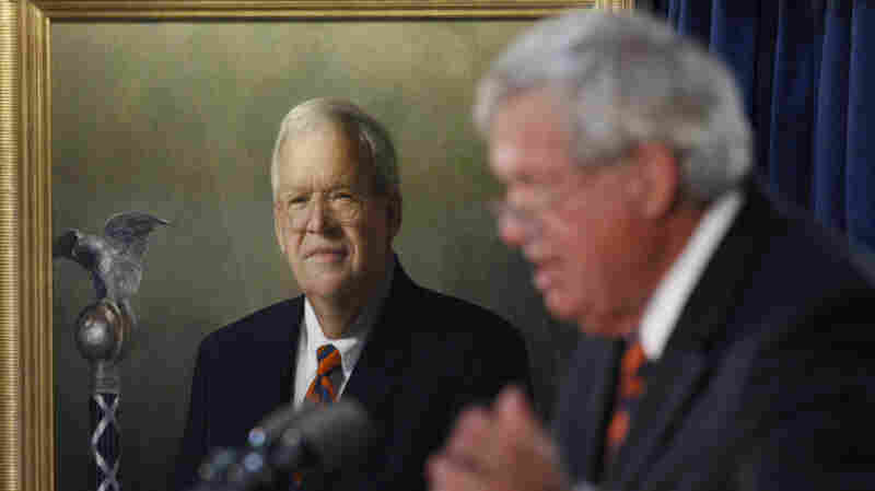 Former House Speaker Dennis Hastert speaks in Washington on July 28, 2009, following the unveiling of his portrait.