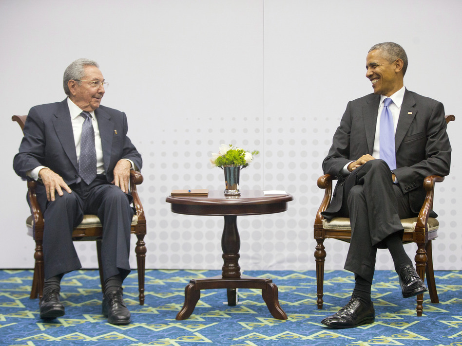 President Obama with Cuban President Raul Castro during their historic meeting in April at the Summit of the Americas in Panama City. (Pablo Martinez Monsivais/AP)