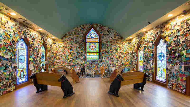 The walls inside Dog Mountain's chapel are filled with thousands of notes, cards and photos, all heartfelt tributes to pets loved and lost.