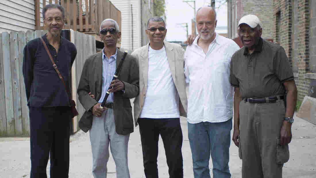 Jack DeJohnette (center) called in fellow Chicago musicians (from left) Henry Threadgill, Roscoe Mitchell, Larry Gray and Muhal Richard Abrams to play on his new live album, Made In Chicago.