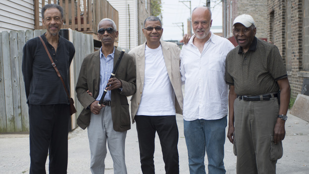 Jack DeJohnette (center) called in fellow Chicago musicians (from left) Henry Threadgill, Roscoe Mitchell, Larry Gray and Muhal Richard Abrams to play on his new live album, Made In Chicago. (Courtesy of the artist)