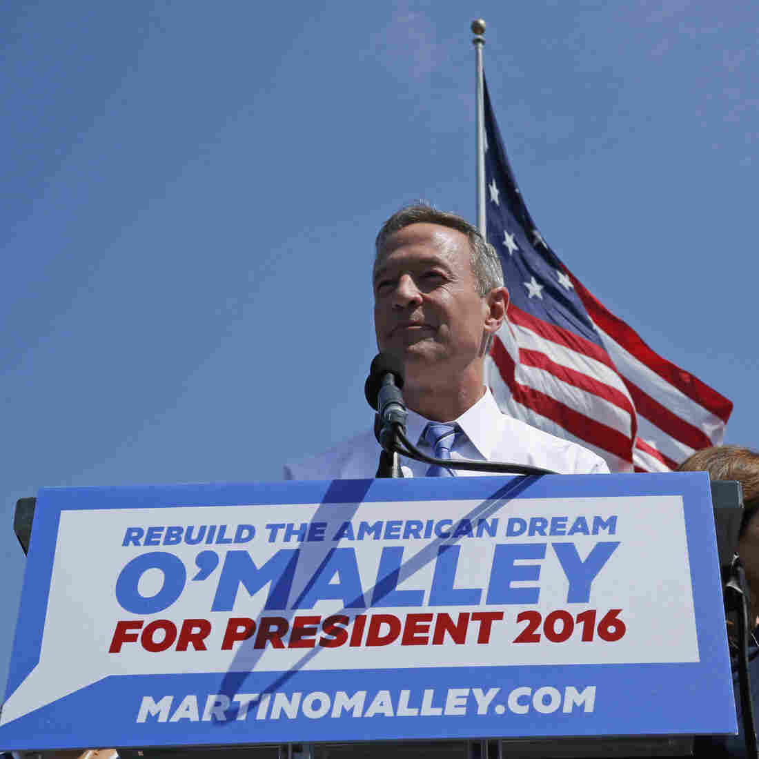 Former Maryland Gov. Martin O'Malley as he announces his intention to seek the Democratic presidential nomination during a speech in Federal Hill Park in Baltimore, Md.