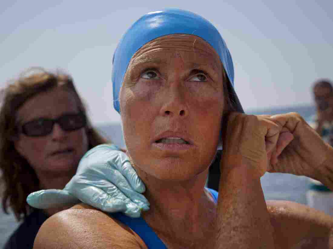 Diana Nyad and Bonnie Stoll prepare for Nyad's swim to Florida in 2012. She failed that attempt, but returned a year later to complete the 110-mile-long journey.
