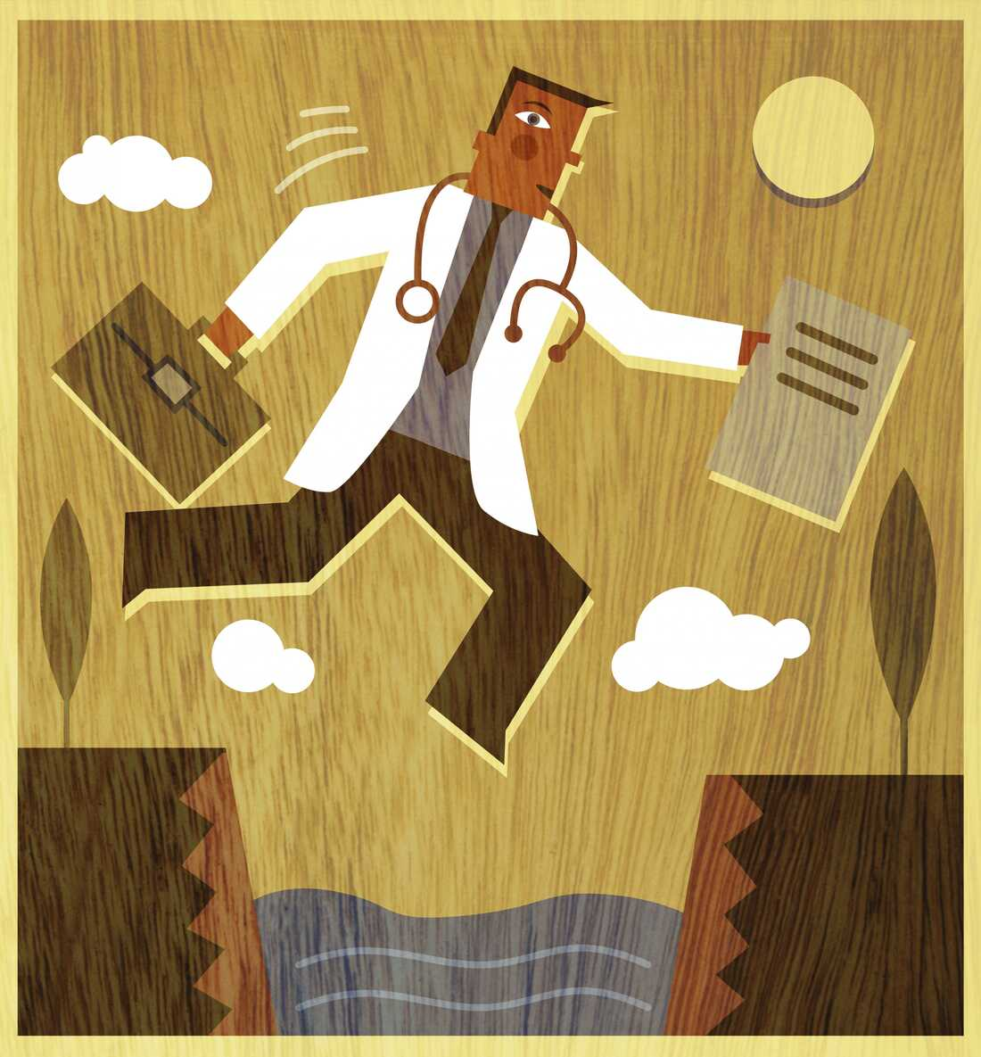 A doctor holding a briefcase and files jumping across a canyon.