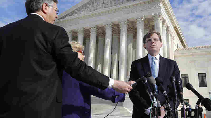 Attorney John Elwood talks to reporters Dec. 1 outside the Supreme Court building in Washington after arguing on behalf of Anthony Elonis, who was convicted in 2010 on the grounds of threatening his wife via social media. On Monday the