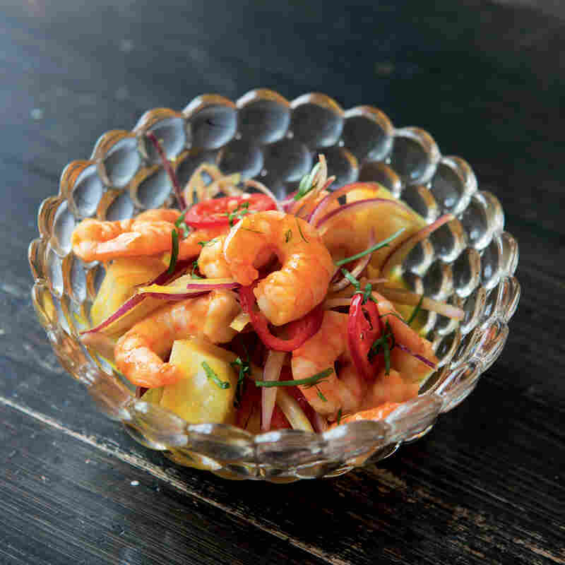 Hot stone shrimp, another ceviche featured in Peru: The Cookbook by Gastón Acurio.
