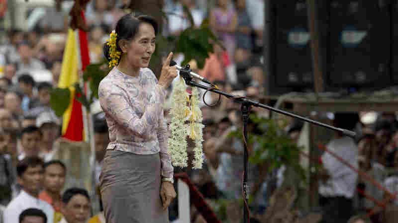Myanmar opposition leader Aung San Suu Kyi speaks at rally in Yangon, Myanmar, last year. Suu Kyi won the Nobel Peace Prize for her struggle for democracy in her homeland, but has faced criticism lately for not speaking out about the plight of the Rohingya, a Muslim minority that has faced discrimination and violence.