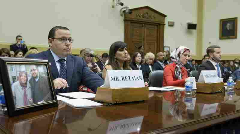 Family members of Americans held or missing in Iran attend a hearing of the Foreign Affairs Committee on Capitol Hill on Tuesday. From left: Ali Rezaian, brother of Washington Post journalist Jason Rezaian; Nagameh Abedini, wife of Saeed Abedini; Sarah Hekmati, sister of Amir Hekmati; and Daniel Levinson, son of Robert Levinson.