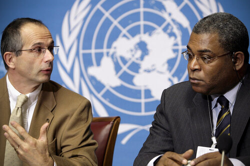 Joel Boutroue (left), the United Nation's deputy special representative in Haiti and Jean-Max Bellerive (right), Haiti's former prime minister, at a Dec. 18, 2006 press conference at the United Nations in Geneva, Switzerland.