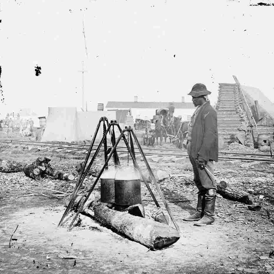An African-American Army cook at work in City Point, Va., sometime between 1860 and 1865. Food played a critical role in determining the outcome of the Civil War.