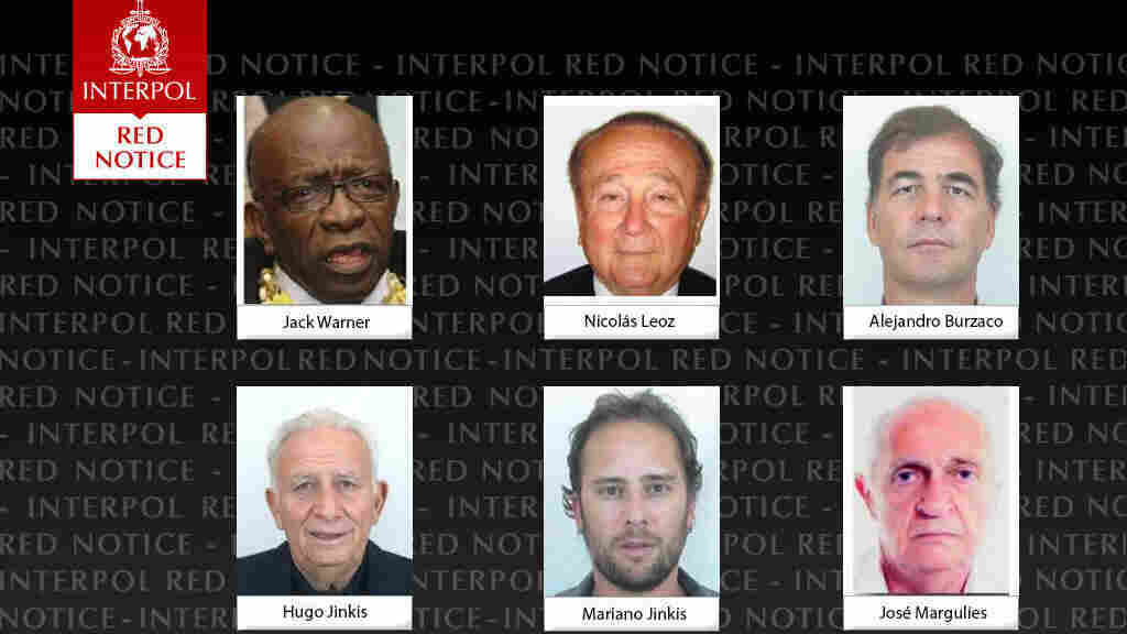 Interpol issued alerts for six people who have been indicted by the U.S. in an inquiry into corruption in FIFA's dealings.