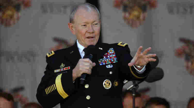 "Joint Chiefs Chairman Gen. Martin Dempsey speaks during the graduation ceremony at the U.S. Military Academy at West Point, N.Y., on May 23. In an interview with NPR, he says he's not surprised by the slow going against the Islamic State, predicting it will be a ""long campaign."""