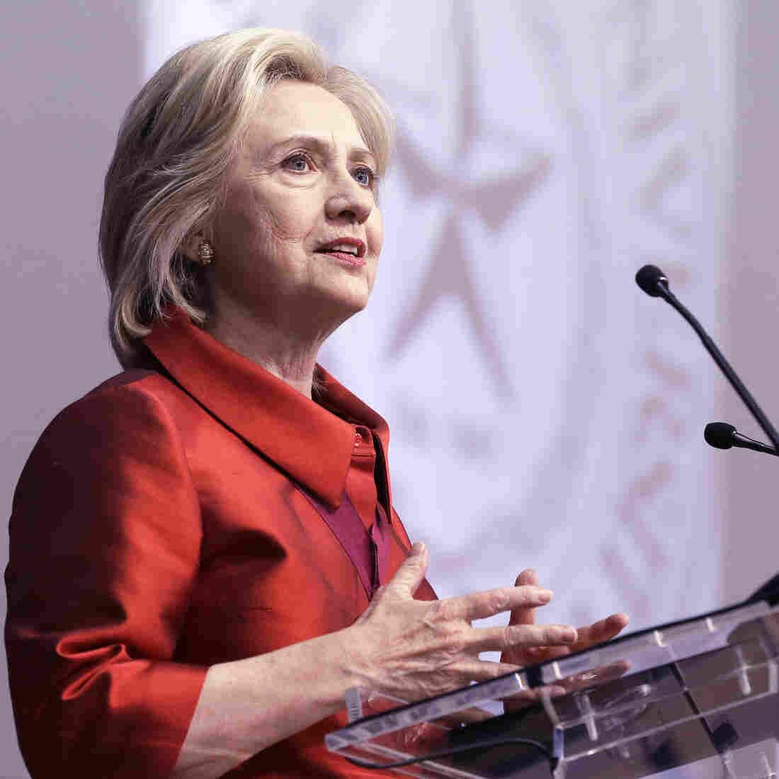 Hillary Clinton speaking at Texas Southern University Thursday.
