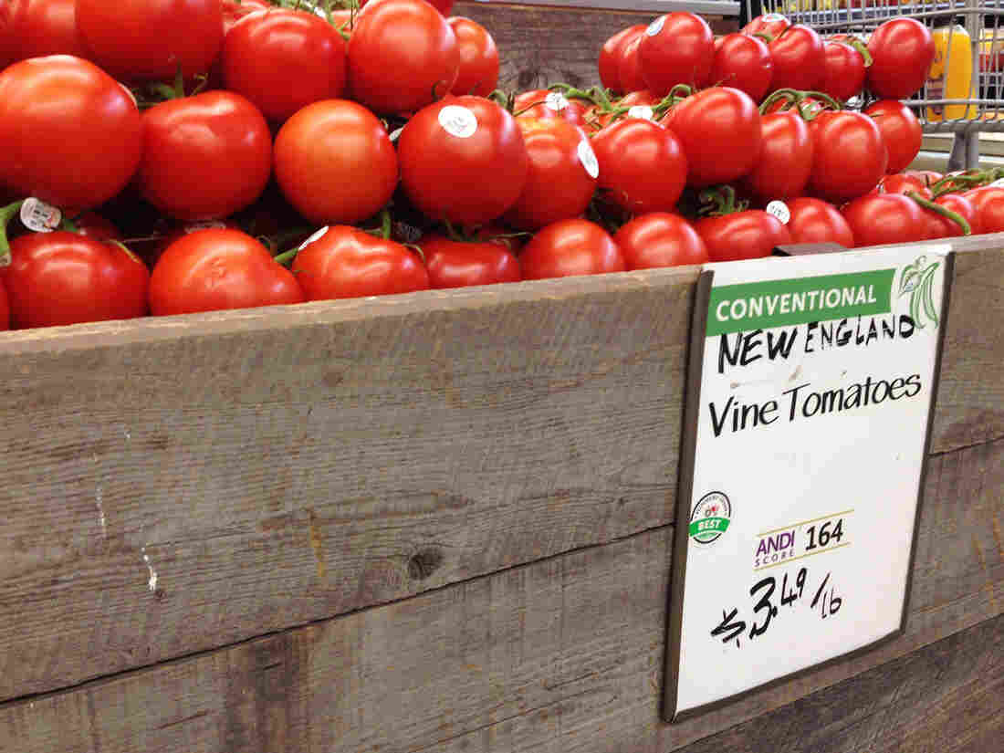 "Conventionally grown tomatoes can earn a ""Best"" rating from Whole Foods under the company's new program. Some organic farmers are chagrined, arguing that it devalues the organic label on their products."