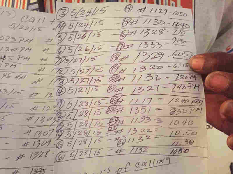 A West Baltimore resident who didn't want his full name used shows the log he keeps of his dozens of 911 calls. He started keeping track May 22, when he noticed the police were no longer responding to his calls about drug dealers in his neighborhood.