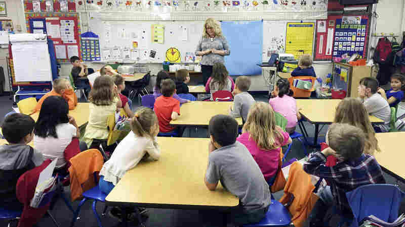 Lannie Castagne teaches first grade at Brimley Elementary School. She does monthly reading assessments to make sure her students are on track.