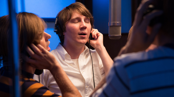 Paul Dano (center) co-stars in Love & Mercy as Brian Wilson in the 1960s heyday of The Beach Boys.