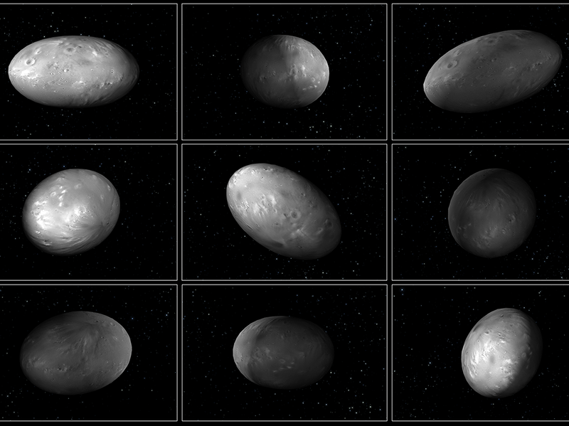 """Computer modeling illustrations of Pluto's moon Nix demonstrate that its orientation changes unpredictably as it orbits the """"double planet"""" of Pluto and Charon."""