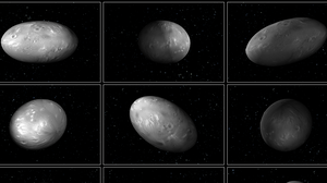 "Computer modeling illustrations of Pluto's moon Nix demonstrate that its orientation changes unpredictably as it orbits the ""double planet"" of Pluto and Charon."