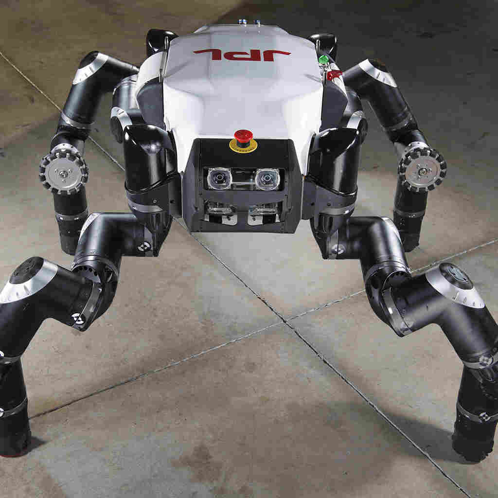 NASA's RoboSimian is among the robots taking part in the Defense Department competition. The Space Agency may one day use it to explore caves on other planets.