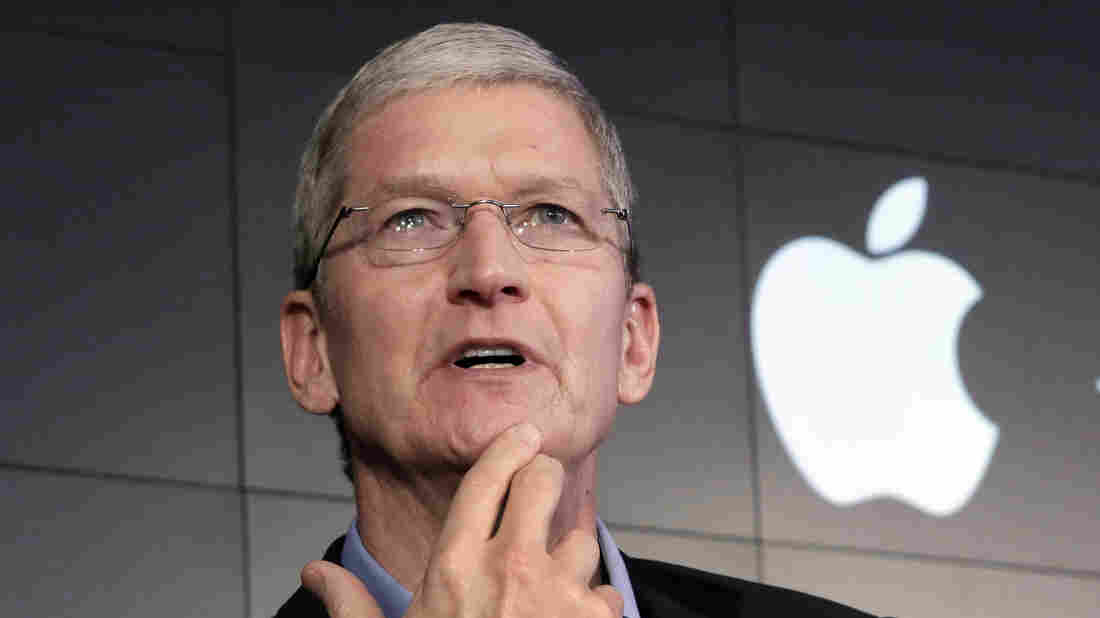"""Apple CEO Tim Cook speaks in New York on April 30. This week, he said some of Silicon Valley's most prominent companies have """"built their businesses by lulling their customers into complacency about their personal information."""""""