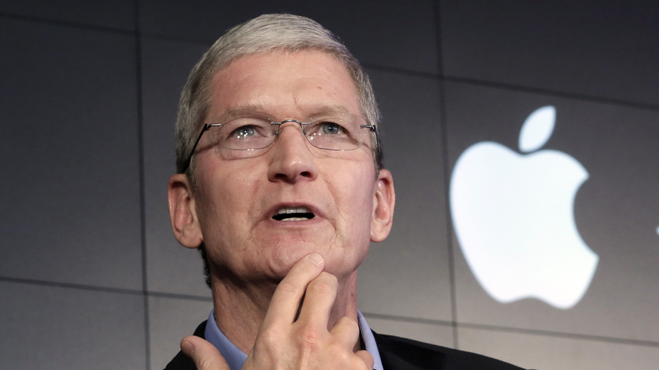 """Apple CEO Tim Cook speaks in New York on April 30. This week, he said some of Silicon Valley's most prominent companies have """"built their businesses by lulling their customers into complacency about their personal information."""" (Richard Drew/AP)"""