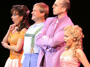 From a 2012 New York Philharmonic production of Candide, Marin Alsop conducts a cast that includes (from right) Kristin Chenoweth, Jeff Blumenkrantz, Paul Groves and Janine LaManna.