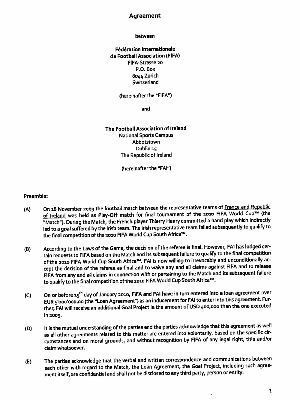 The first page of a four-page agreement between FIFA and Ireland's soccer association outlines the terms of a 5 million euro payment.