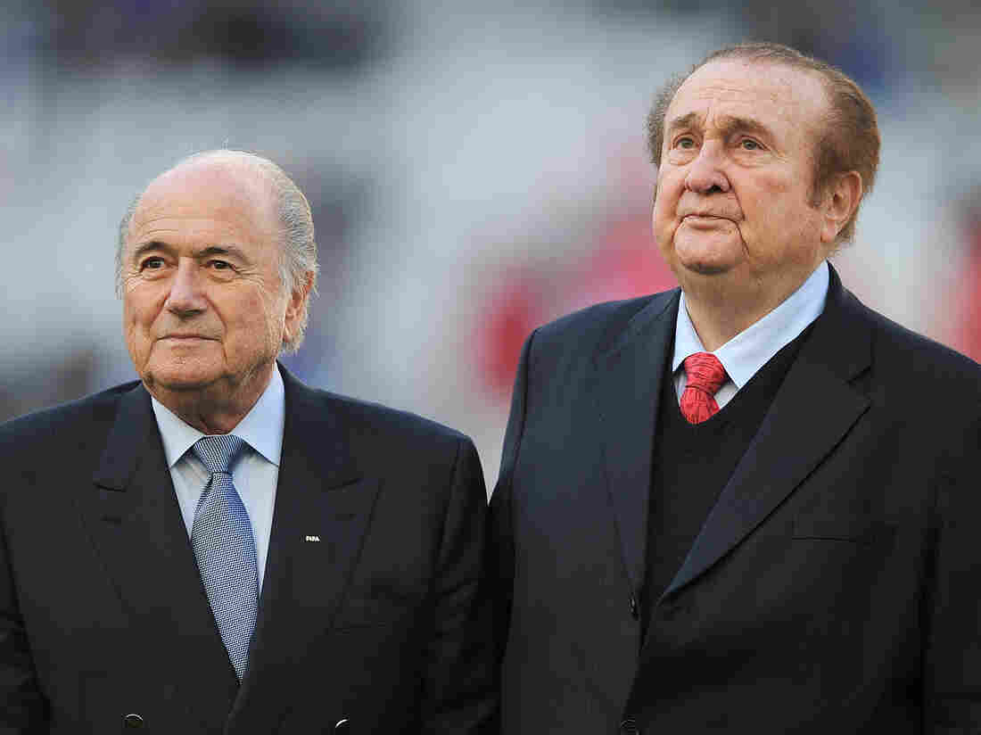 The former FIFA president, Sepp Blatter, left, and the former president of CONMEBOL, Nicolas Leoz, before the start of a 2011 match in Copa America soccer tournament in Argentina. Blatter resigned amid the FIFA corruption scandal and Leoz is among those accused of accepting bribes.