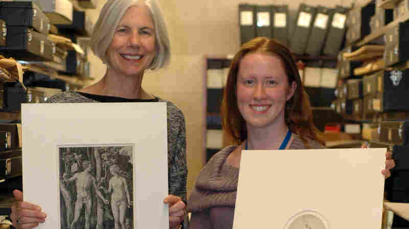 Boston Public Library President Amy Ryan, left, and Conservation Officer Lauren Shott hold the recovered prints by Albrecht Durer and Rembrandt van Rijn.