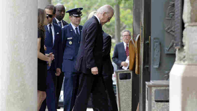 Vice President Joe Biden arrives for funeral services for his son, former Delaware Attorney General Beau Biden, on Saturday at St. Anthony of Padua Roman Catholic Church in Wilmington, Del.