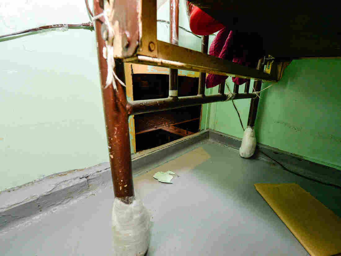 This photo provided by New York governor's office shows the area where two convicted murderers used power tools to cut through steel pipes at a maximum-security prison in Dannemora, N.Y.