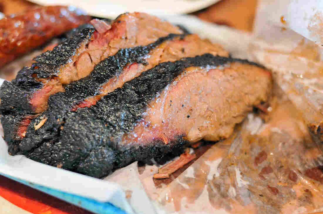 "A few slices of Franklin Barbecue's brisket. ""Resting a brisket for a long time is really important,"" owner Aaron Franklin says."