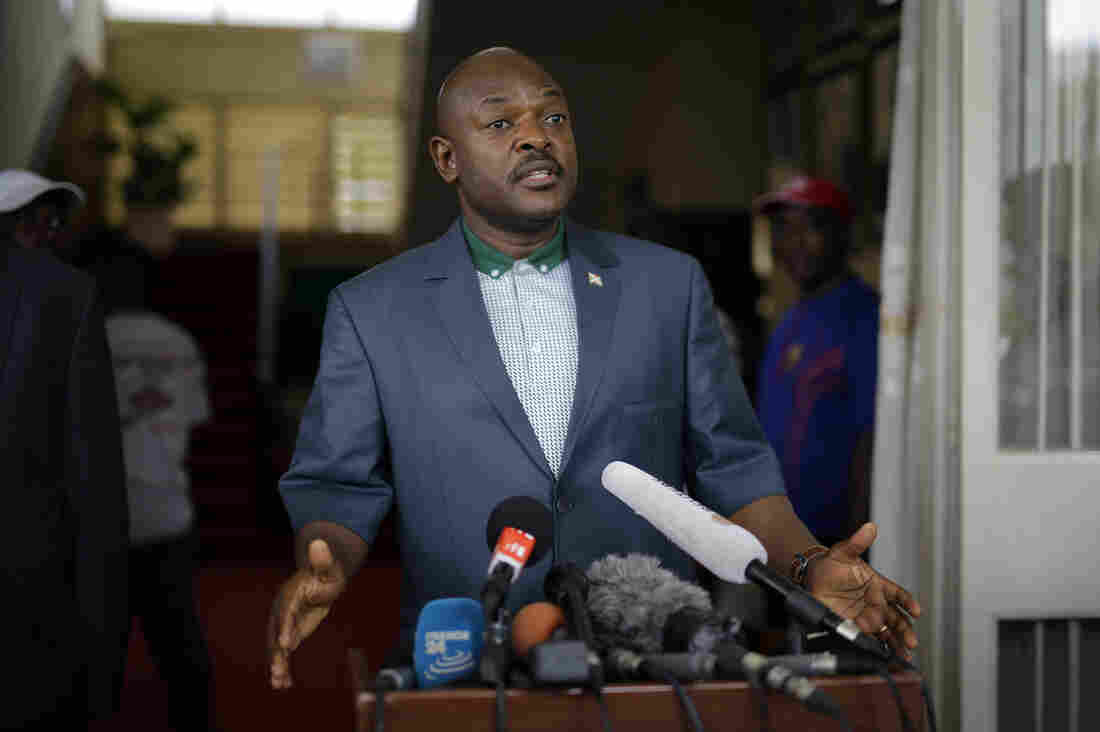 Burundi's President Pierre Nkurunziza speaks at the presidential palace in the capital Bujumbura on May 17, shortly after an attempted coup was quashed. He is running for a third term next month despite a constitutional limit of two terms.