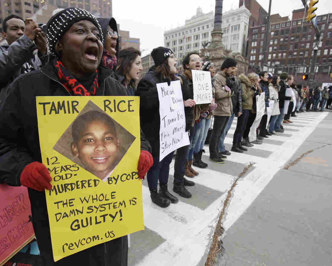 Demonstrators block Public Square in Cleveland in November during a protest over the police shooting of 12-year-old Tamir Rice.