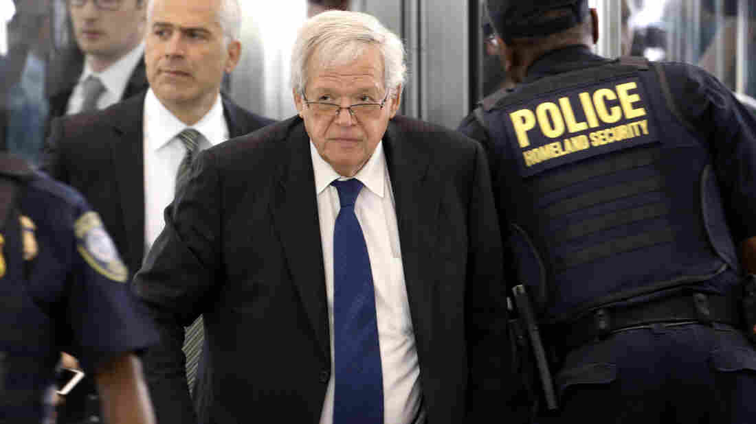 Former House Speaker Dennis Hastert arrives at the federal courthouse for his arraignment. He is accused of crimes allegedly arising from an attempt to pay $3.5 million to someone from his days as a high school teacher not to reveal a secret about past misconduct.