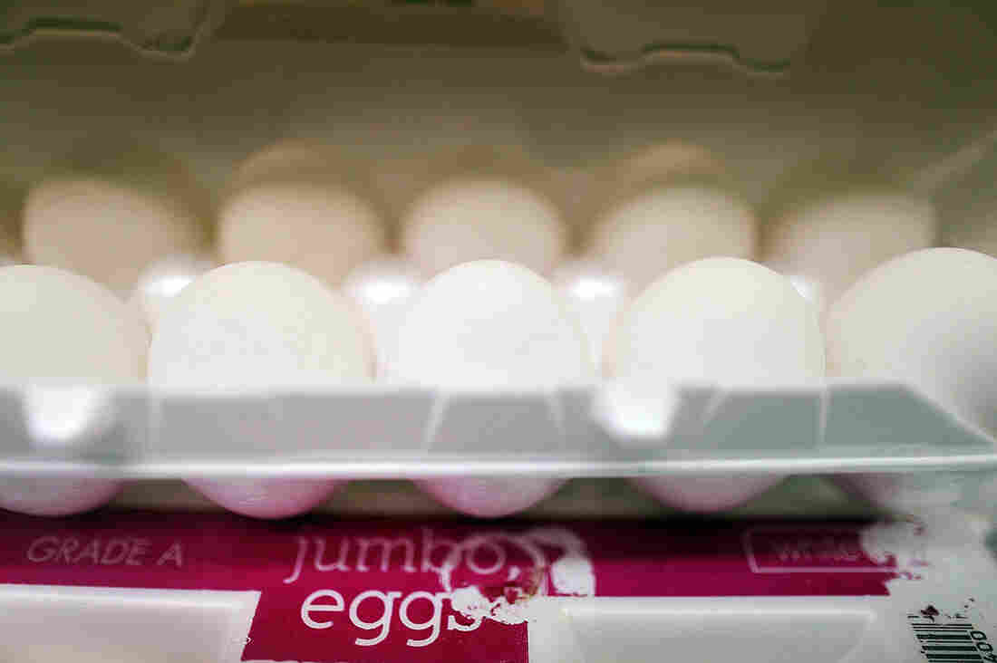 Cartons of eggs are stacked on shelves at Laurenzo's Italian Center, May 21, 2015, in Miami.