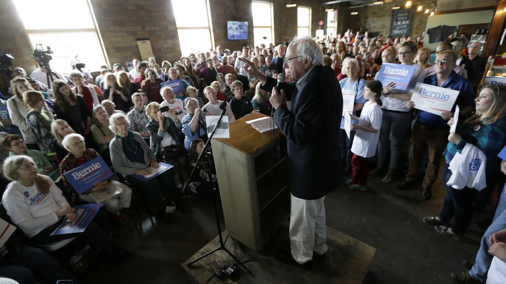 Vermont Sen. Bernie Sanders speaks with Iowa residents last month.