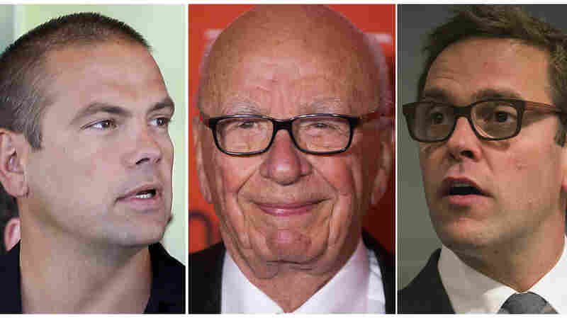 Rupert Murdoch (center) and his sons Lachlan (left) and James (right) are seen in a combination of file photos. Rupert Murdoch, the head of News Corp. and the Fox media empire, says he will hand over the reins of the company.