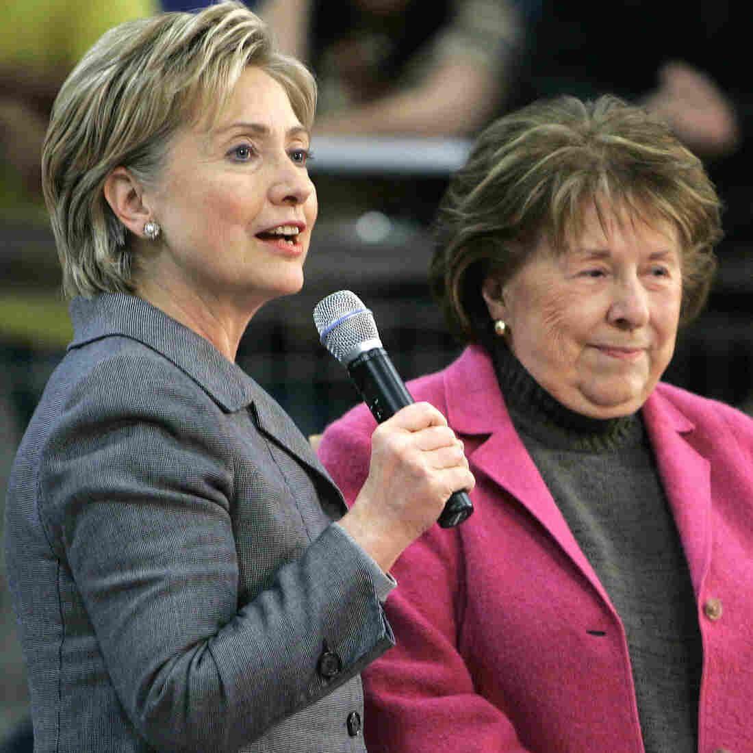 In this 2007 file photo, Dorothy Rodham campaign with her daughter, then-New York Sen. Hillary Clinton, on the campaign trail in Iowa