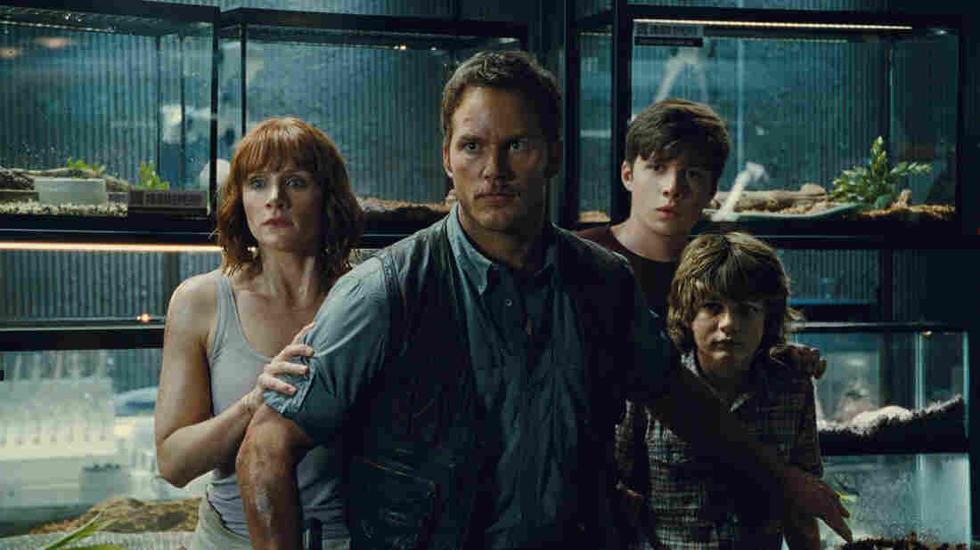 Bryce Dallas Howard, Chris Pratt, Nick Robinson and Ty Simpkins star in Jurassic World.