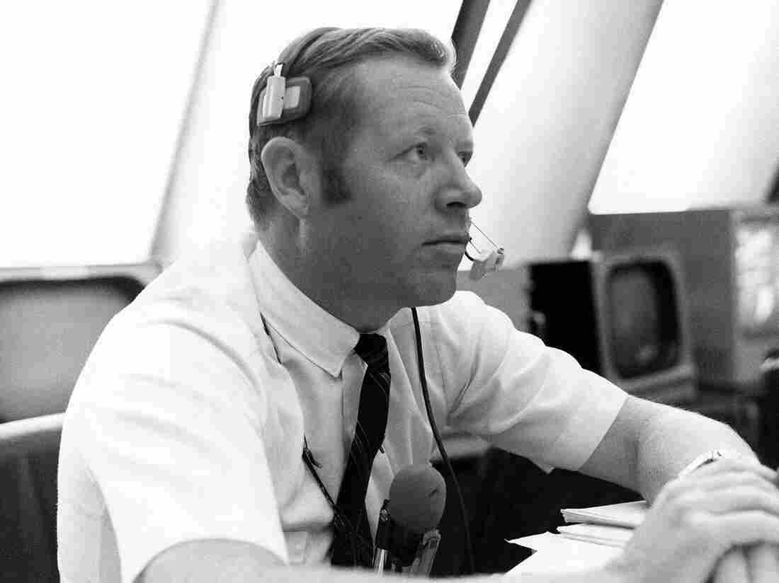 """A Nov. 14, 1969, photo made available by NASA shows Jack King in the Firing Room of the Kennedy Space Center's Launch Control Center in Cape Canaveral, Fla., during the countdown for Apollo 12. King, who died Thursday, became known as NASA's """"Voice of Apollo."""""""