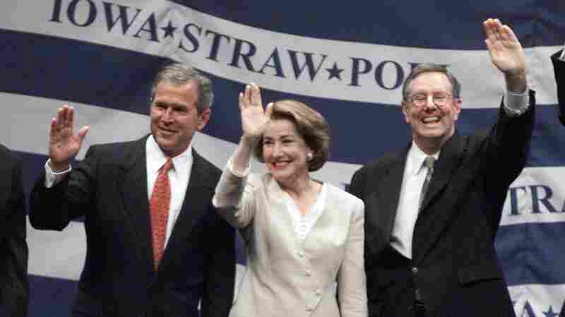 George W. Bush (left) stands with Elizabeth Dole and Steve Forbes, whom he defeated in the 1999 Iowa Straw Poll.