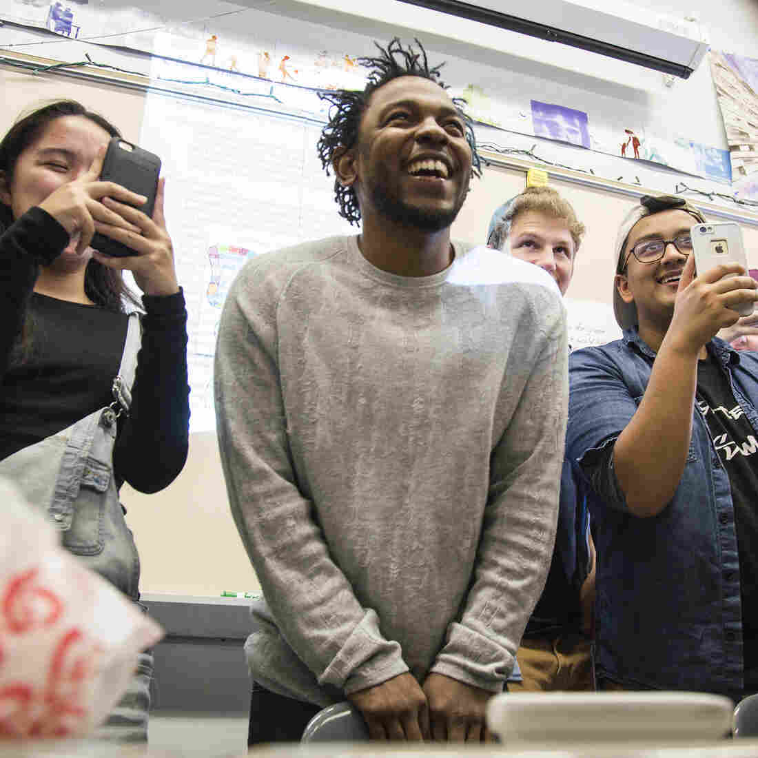 Kendrick Lamar visits Brian Mooney's English classes at High Tech High School in North Bergen, N.J., on Monday.