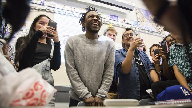 Kendrick Lamar visits Brian Mooney's English classes at High Tech High School in North Bergen, N.J., on Monday. (NPR)