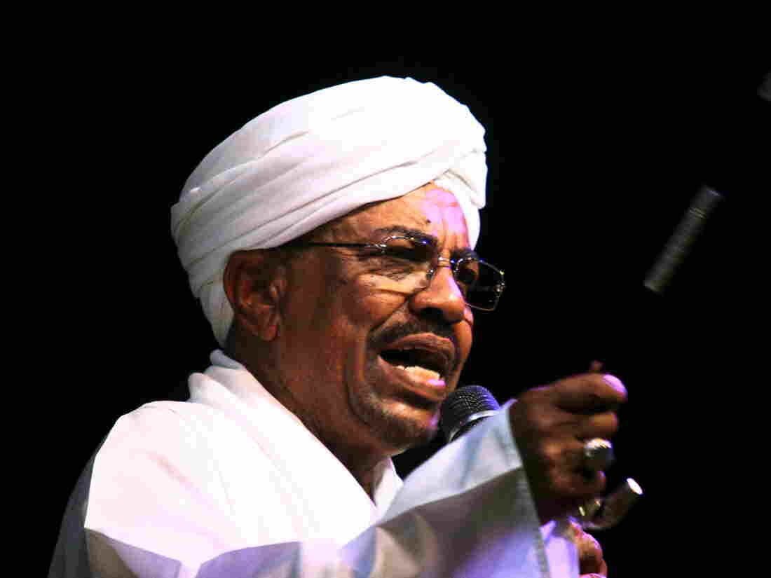 Sudan's President Omar Hassan al-Bashir speaks to the crowd after a swearing-in ceremony at green square in Khartoum, earlier this month. A South African court has ordered al-Bashir, who is attending an African Union summit in Johannesburg, to be detained on an international war crimes warrant.