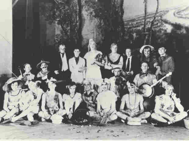 Civic organizations, such as this Lions Club of Mineral Wells, Texas, staged womanless weddings as community events and fundraisers, circa 1940.